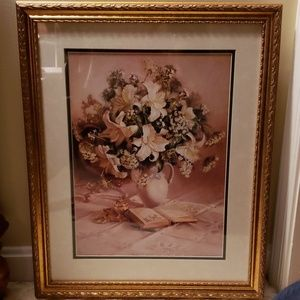 Antiqued gold color frame  /floral print